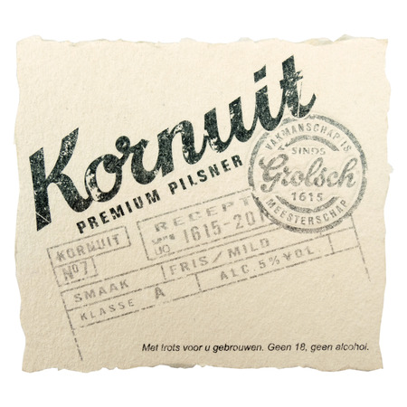 NETHERLANDS  DELFT  CIRCA FEBRUARY 2015: Beer coaster for advertising Grolsch Kornuit beer.
