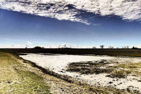 lemmer: Dike in Moddergat in Friesland The Netherlands.