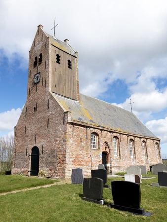 Gothic church in Lichtaard in Friesland Netherlands. Stock Photo