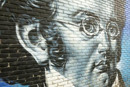 franz: NETHERLANDS - LEIDEN - MEDIA JULY 2015: Graffiti on a wall with a portrait of Franz Schubert.