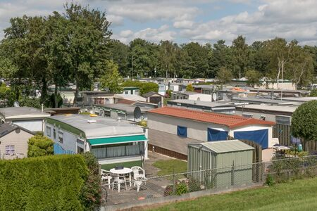 camping pitch: NETHERLANDS - LEMMER - MEDIA JULY 2015: Mobile homes in the town camping Lemmer.