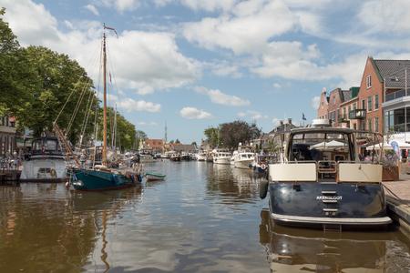 lemmer: NETHERLANDS - LEMMER - MEDIA JULY 2015: Pleasure yachts in the port of Lemmer Friesland, Netherlands. Editorial
