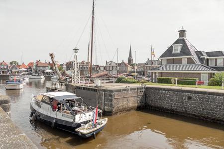 lemmer: NETHERLANDS - LEMMER - MEDIA AUGUST 2015: Lemster lock in the port of Lemmer in Friesland. Editorial