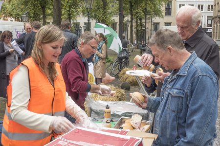 fare: NETHERLANDS - THE HAGUE - 3 SEPTEMBER 2015: Pig farmers ask in The Hague with a publicity campaign highlighting the difficult situation of the pig industry. Ham sandwiches were distributed.