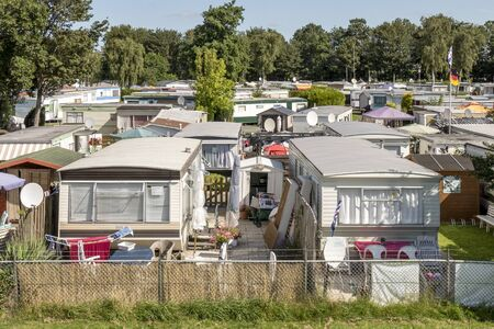 camping pitch: NETHERLANDS - LEMMER - MEDIA AUGUST 2015: Mobile homes in the town camping Lemmer. Editorial