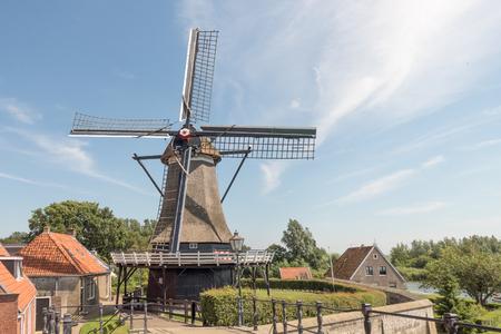flour mill: NETHERLANDS - SLOTEN - CIRCA AUGUST 2015: Flour mill the Kaaij in Sloten.