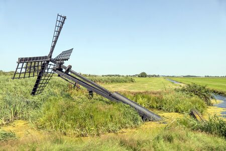 cultural history: Friese paaltjasker in nature area Sanpoel in Friesland, Netherlands.