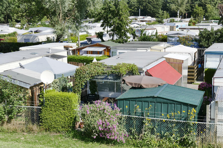 NETHERLANDS - LEMMER - MEDIA AUGUST 2015: Mobile homes in the town camping Lemmer. Editorial
