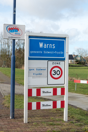 municipal editorial: NETHERLANDS - WARNS - MEDIO FEBRUARY 2016: Warns place name, a village in South-West Friesland, Netherlands.