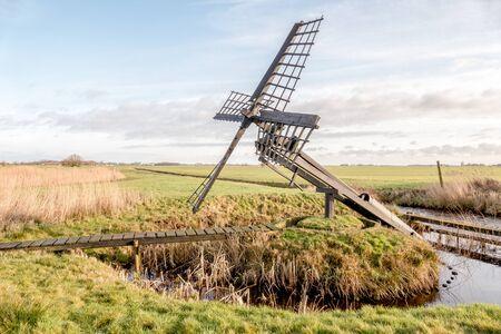 cultural history: Paaltjasker windmill in nature area Sanpoel in Friesland, Netherlands