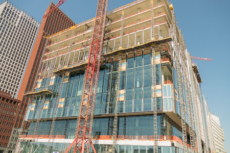 NETHERLANDS - THE HAGUE - CIRCA MAY 2016: Scaffolding at the renovation of the former VROM Ministry building.