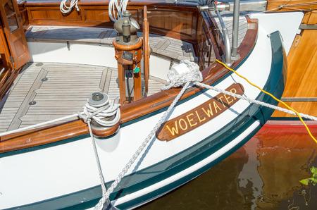 lemmer: NETHERLANDS - LEMMER - MEDIA MAY 2014: Part of sailboat Woelwater in the port of Lemmer in Friesland, Netherlands.