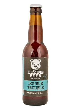 lemmer: NETHERLANDS - LEIDSCHENDAM - MEDIA OCTOBER 2015: Kleine Beer beer bottle double trouble from Frisian Craft brewery in Lemmer. Editorial