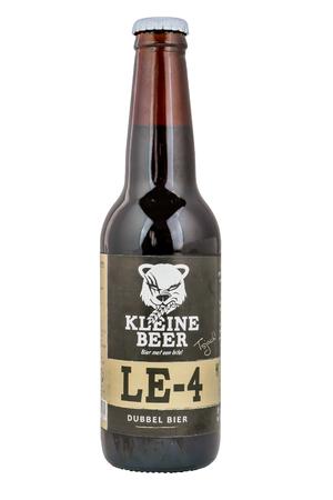 lemmer: NETHERLANDS - LEIDSCHENDAM - MEDIA OCTOBER 2015: Kleine Beer, beer bottle double beer from Frisian Craft brewery in Lemmer.
