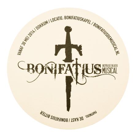 NETHERLANDS - DELFT - MEDIA FEBRUARY 2015: Beer coaster for advertising for Bonifatius The Musical. Redactioneel