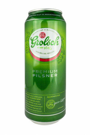 LUNTEREN - NETHERLANDS - JULY 26, 2017: Grolsch beer can isolated on white.