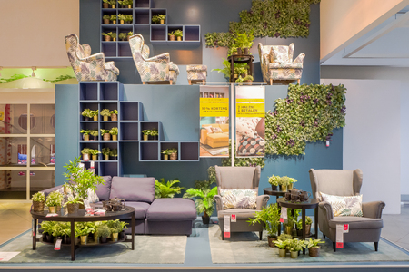 NETHERLANDS - DELFT - SEPTEMBER 16, 2017: Interior of the Ikea store in Delft in The Netherlands, advertising discount on couches, chairs and pillows. Editorial