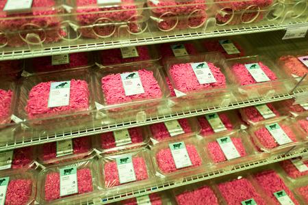 NETHERLANDS - EDE - JULY 20, 2017: Minced meat in the Albert Heijn supermarket store in Ede in the Netherlands.