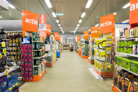 NETHERLANDS - LEIDSCHENDAM - SEPTEMBER 8, 2017: Interior of a store from the diy Gamma holding in Leidschendam, Netherlands with varied collection of do it yourself products.