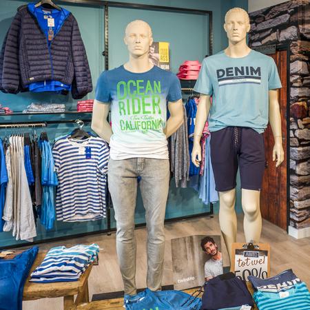 NETHERLANDS - LUNTEREN - JULY 19, 2017: Fashion dolls in the Abito fashion store in Lunteren in the Netherlands.