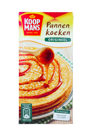 NETHERLANDS - LUNTEREN - JULY 26, 2017: A pack of Koopmans pancakes mix isolated on a white background. Koopmans started in 1846.