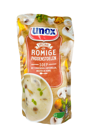NETHERLANDS - LUNTEREN - JULY 26, 2017: A pack of Unox forest mushroom soup from the Spar supermarket store in Otterlo in the Netherlands. Isolated on a white background.