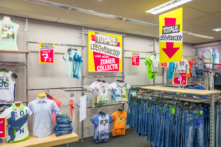 NETHERLANDS - LUNTEREN - JULY 27, 2017: Interior of the terStal store in Lunteren, Netherlands with summer sale action. Editorial