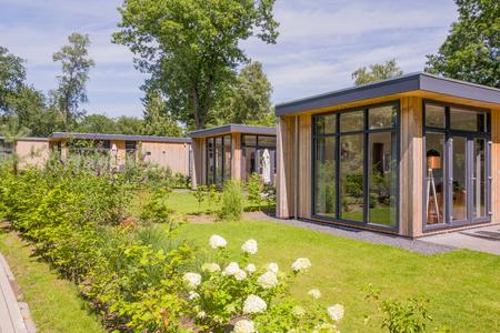 NETHERLANDS - OTTERLO - JULY 19, 2017: Holiday bungalows on estate De Scheleberg in Otterlo, Netherlands.