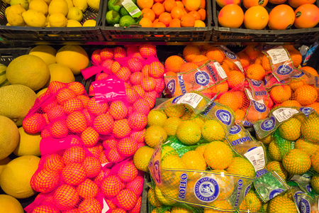 NETHERLANDS - OTTERLO - JULY 18, 2017: Fruit department in an Spar store in the center of Otterlo, Netherlands. Editorial