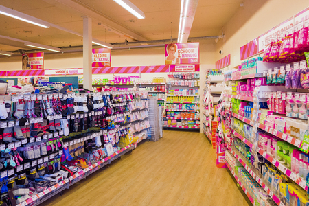 NETHERLANDS - SCHERPENZEEL - JULY 17, 2017: Interior of a store from the Big Bazar in the center of Scherpenzeel, Netherlands with varied collection of products. Big Bazar opened its first shop in 2007. Editorial