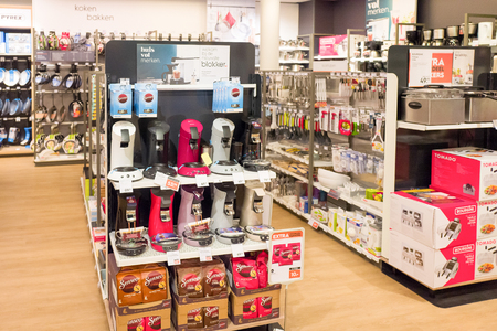 NETHERLANDS - SCHERPENZEEL - JULY 17, 2017: Interior of a store from the Blokker holding in the center of Scherpenzeel, Netherlands with varied collection of products. Editorial