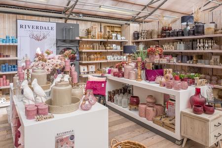 NETHERLANDS - VOORSCHOTEN - AUGUST 27, 2017: Home accessories in an Intratuin store in Voorschoten, Netherlands. Editorial