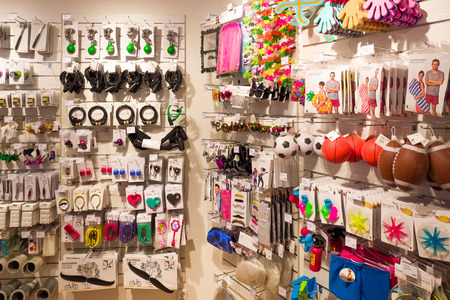 NETHERLANDS - DELFT - AUGUST 26, 2017: Interior of a store from the Flying Tiger Copenhagen design shop in Delft, Netherlands with varied collection of products.