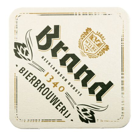 NETHERLANDS - LUNTEREN JULY 17, 2017: Brand beer mat isolated on white background.