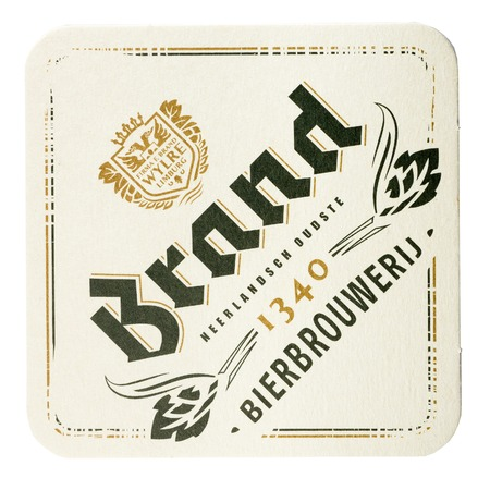 NETHERLANDS - LUNTEREN JULY 17, 2017: Brand beermat isolated on white background. Editorial