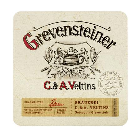 NETHERLANDS - LUNTEREN - JULY 17, 2017: Grevensteiner beermat. From brewery C A Veltins, Germany. Isolated on white background.