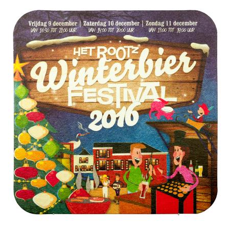 NETHERLANDS - LUNTEREN - JULY 17, 2017: Beer mat for advertising Rootz winterbeer festival 2016.