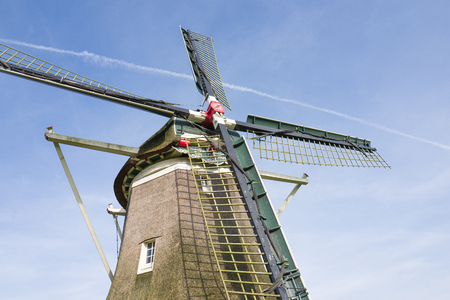 Traditional Dutch windmill De Hoop in Elspeet in Holland. Stock Photo