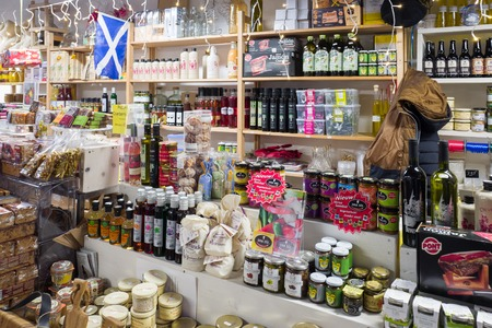 NETHERLANDS - DEVENTER - NOVEMBER 26, 2017: In the Old Mosterdfabriek are shops selling olive oil, sambal and spices in the center of Deventer.