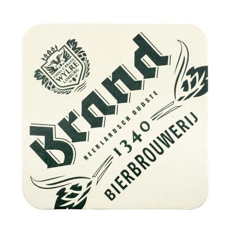NETHERLANDS - LUNTEREN JULY 17, 2017: Brand beermat isolated on white background. Redactioneel