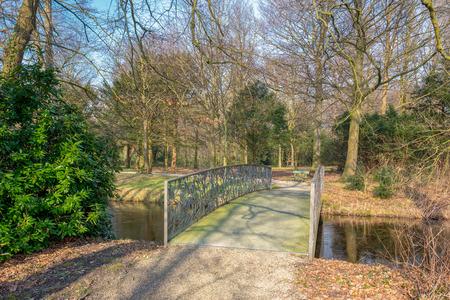 Old bridge in park Duivenvoorde in Voorschoten, Netherlands.