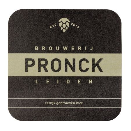 NETHERLANDS - LEIDSCHENDAM - MARCH 11, 2018: Pronck beermat from the brewery in Leiden, Netherlands. Isolated on white background.