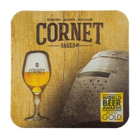 NETHERLANDS - LEIDSCHENDAM - MARCH 11, 2018: Cornet beermat. Isolated on white background. Redactioneel