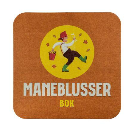 NETHERLANDS - LEIDSCHENDAM - MARCH 11, 2018: Maneblusser Bok beer mat. Isolated on white background.