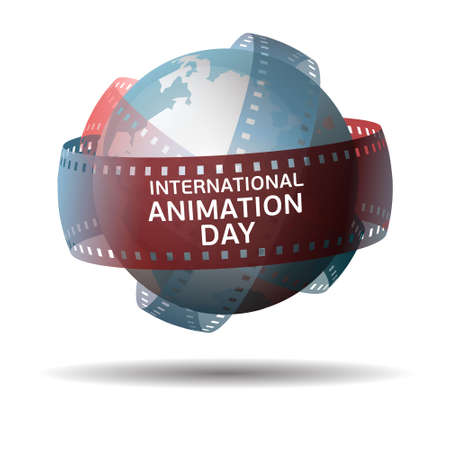 International animation day. Globe with filmstrip isolated on white background. Illustration