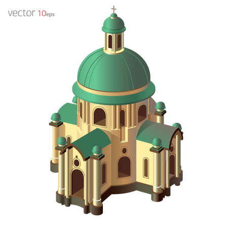 overhang: Ancient basilica (church). Vector illustration with 3d effect isolated on white background
