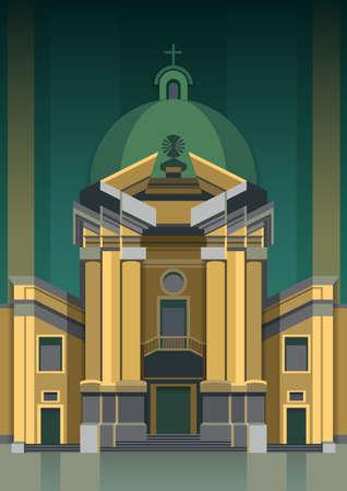 roman catholic: Building church flat icon with long shadow,
