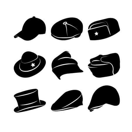 panama hat: Vector Collection of Vintage Hats