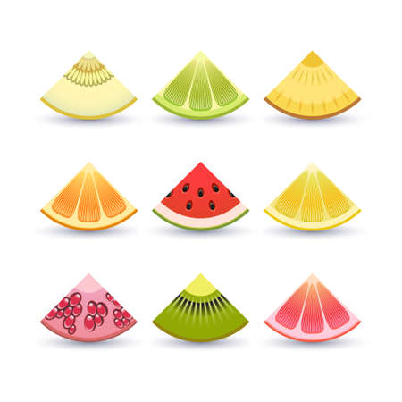 wedge: Vector collection of fresh fruit wedges
