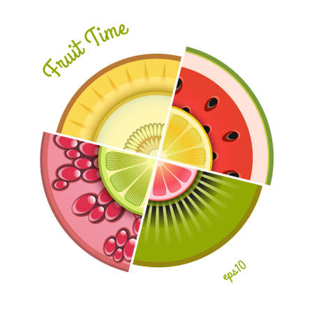 Fruits background with slices of lemon, kiwi, orange, pomegranate, grapefruit, lime, watermelon, melon, pomegranate. Vector. 矢量图像